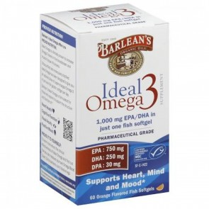 Barlean's Ideal Omega 3 Orange Flavored 60 Softgels