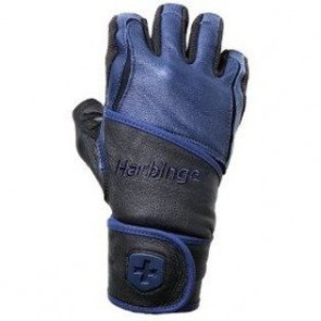 Harbinger Big Grip Wrist Wrap Weight Lifting Gloves Black/Blue (Small)