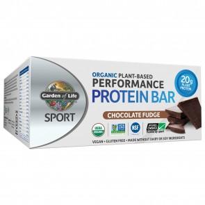 Garden of Life Sport Organic Plant-Based Performance Protein Bar Chocolate Fudge (12 Bars)