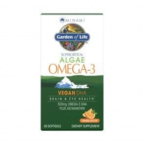 Garden of Life Supercritical Algae Omega-3 Vegan DHA Orange Flavor 60 Softgels