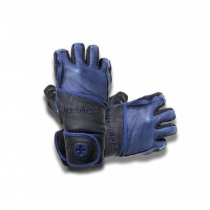Harbinger Big Grip Wrist Wrap Weight Lifting Gloves Black/Blue (Medium)