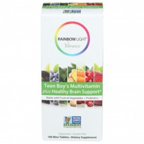 Rainbow Light Vibrance Teen Boy's Multivitamin plus Healthy Brain Support 180 Mini-Tablets