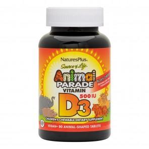 Nature's Plus Animal Parade Vitamin D3 500iu 90 Animals Natural Black Cherry Flavor