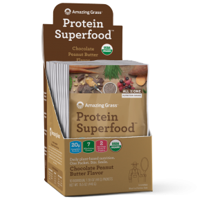 Amazing Grass Protein SuperFood Chocolate Peanut Butter 10 Individual Packets