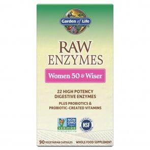 Garden of Life RAW Enzymes Women 50 & Wiser 90 Vegetarian Capsules