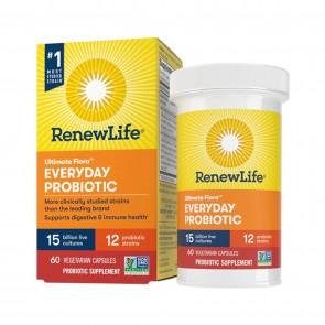 Renew Life Everyday Ultimate Flora Probiotic 15 Billion 60 Vegetable Capsules