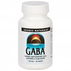 Source Naturals GABA 750mg 45 Tablets
