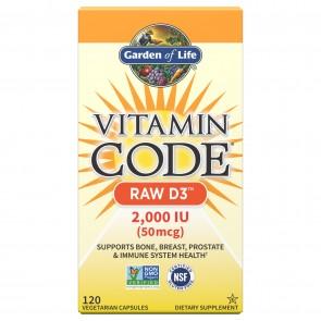 Garden of Life Vitamin Code RAW D3 2,000 IU 120 Vegetarian Capsules