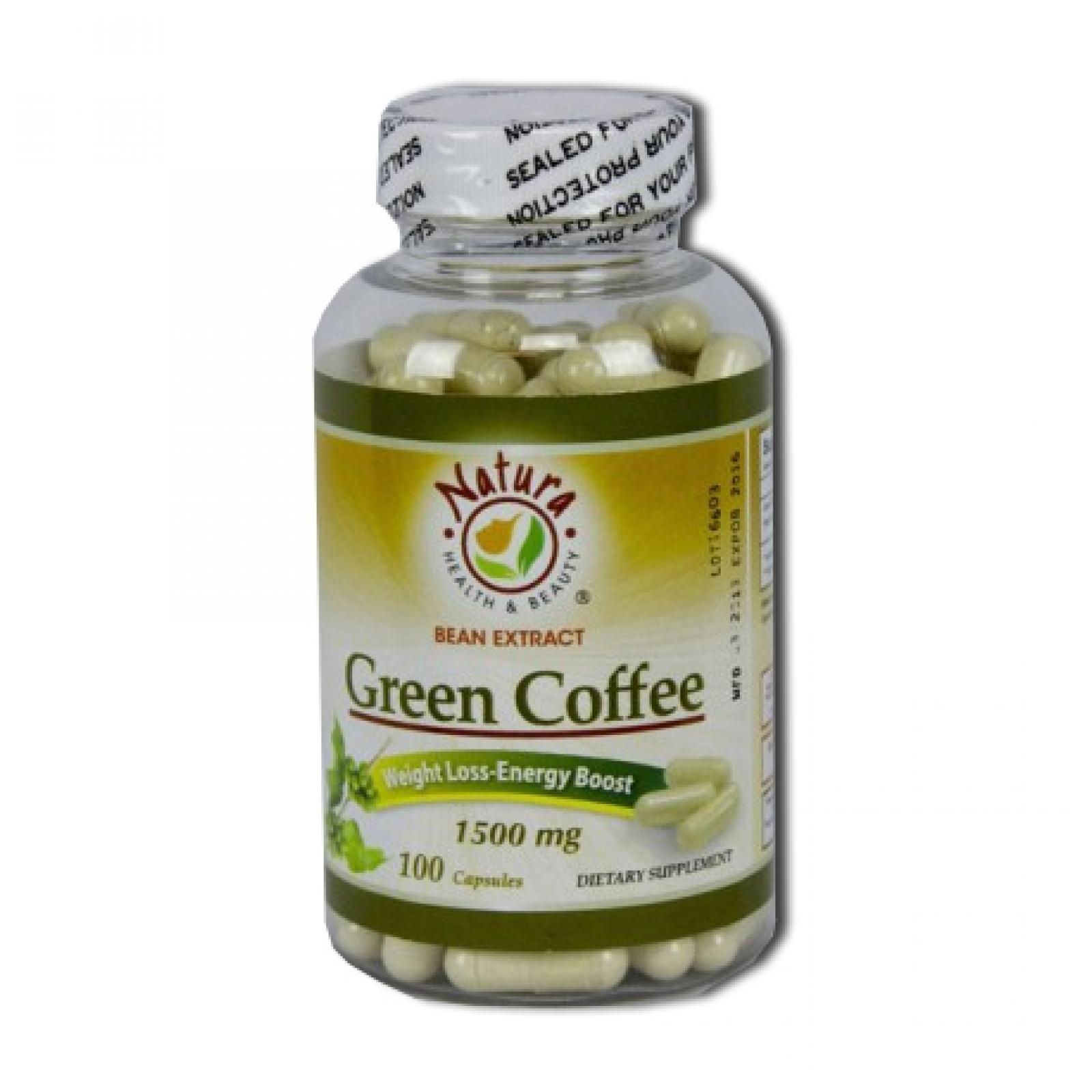 Natura Health Beauty Green Coffee Bean Extract 1500 Mg 100