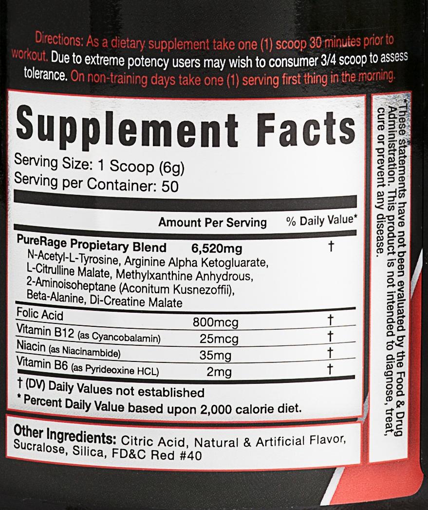 Purerage supplement facts
